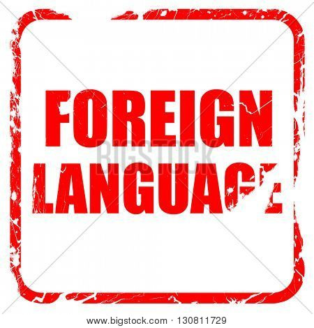 foreign language, red rubber stamp with grunge edges