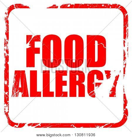 food allergy, red rubber stamp with grunge edges