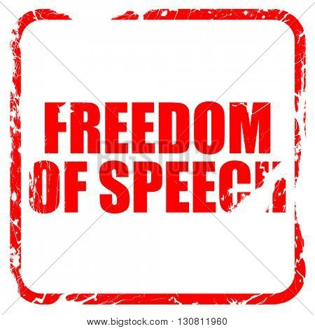 freedom of speech, red rubber stamp with grunge edges