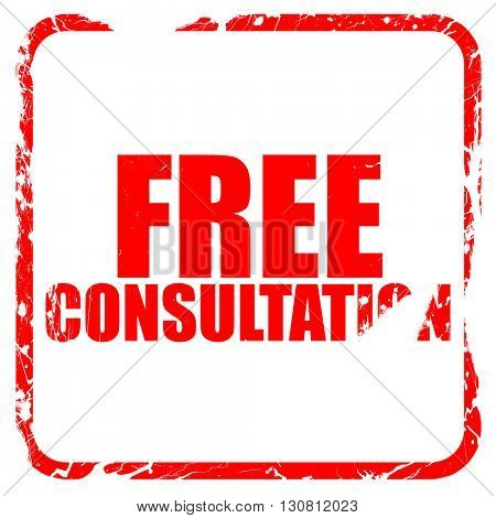 free consultation, red rubber stamp with grunge edges