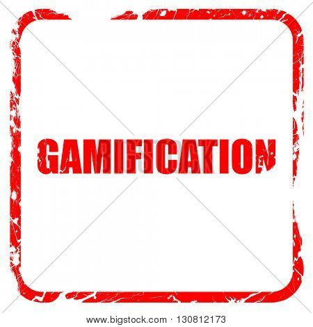 gamification, red rubber stamp with grunge edges