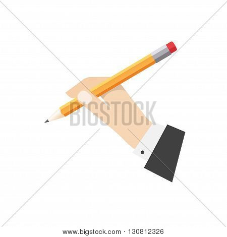 Hand holding pencil illustration, lead pencil with rubber in hand ready to draw or make note, flat cartoon icon design isolated on white background image