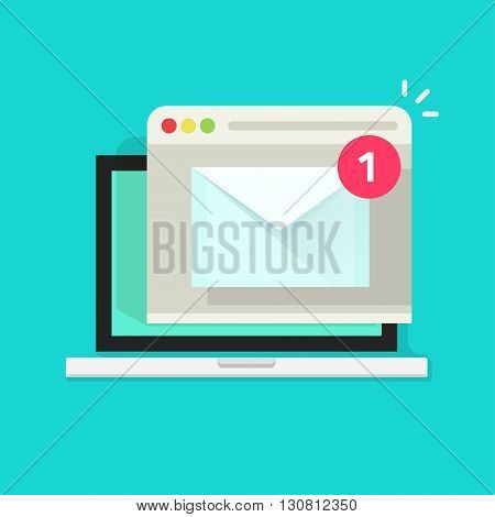 Laptop with browser and envelope illustration, symbol of email receiving, service, notification, electronic mail, new message, flat cartoon design isolated on blue image