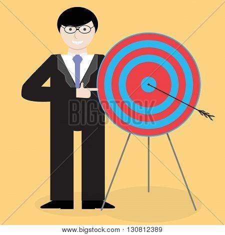 Businessman presentation success right in the bullseye. Success goal concept business marketing strategy. Vector flat design illustration