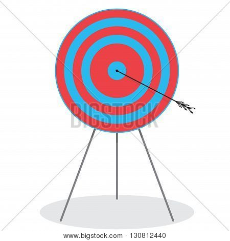 Right in the bullseye. Arrow in target. Target and dart arrow and bullseye icon. Bullseye target and dart board on target. Vector flat design illustration