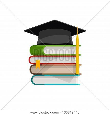 Graduation cap on books stacked, mortar board with pile of books with shadow, symbol of education, learning, knowledge, intelligence, flat cartoon vector illustration design isolated on white