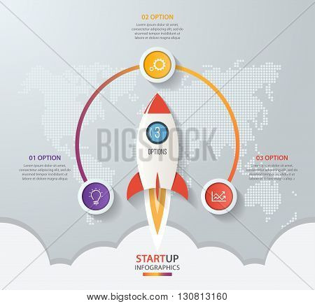 Startup vector circle infographics with rocket launch and styled world map. 3 options parts steps processes business concept for graphs charts diagrams.
