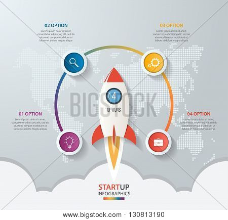 Startup vector circle infographics with rocket launch and styled world map. 4 options parts steps processes business concept for graphs charts diagrams.
