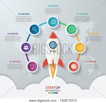 Startup vector circle infographics with rocket launch and styled world map. 7 options parts steps processes business concept for graphs charts diagrams.