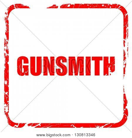 gunsmith, red rubber stamp with grunge edges
