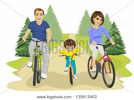 Young caucasian family, father, mother and boy child riding bicycles in the summer in countryside