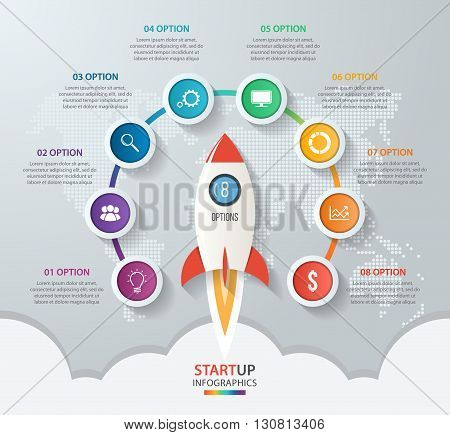 Startup vector circle infographics with rocket launch and styled world map. 8 options parts steps processes business concept for graphs charts diagrams.