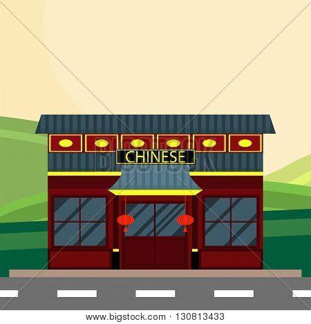 Modern landscape set with cafe, restaurant building. Flat style vector illustration.Vector illustration of Chinese restaurant and lanterns.