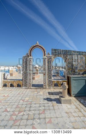 Scenic Ruins Covered With Glazed Tiles On The Roof Of The Mansion In Medina Of Tunis