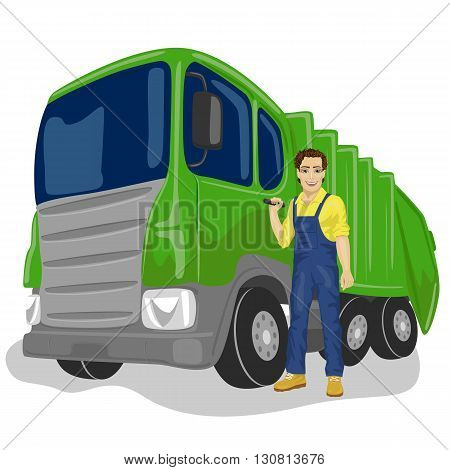 Portrait of municipal worker next to recycling garbage collector truck loading waste and trash bin