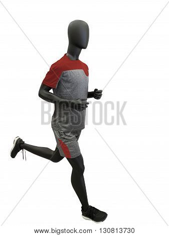 Male running mannequin dressed in sportswear. Isolated on white background. No brand names or copyright objects.