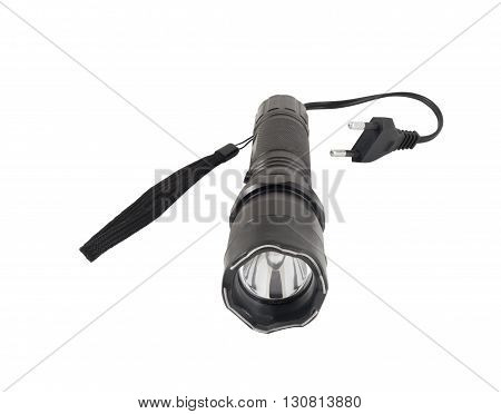 Electric torch with a LED on a white background