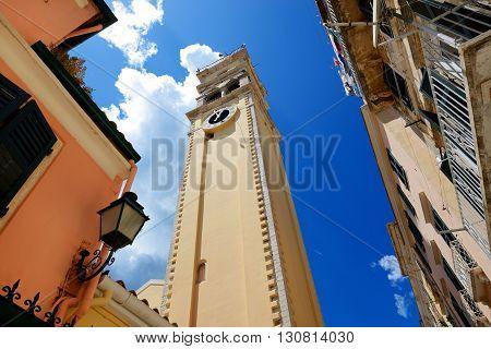 The bell tower of Saint Spyridon Church Corfu Greece