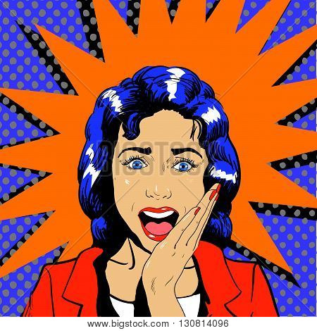 Surprised woman face with open mouth. Vector illustration in retro pop art comic style. Wow effect.