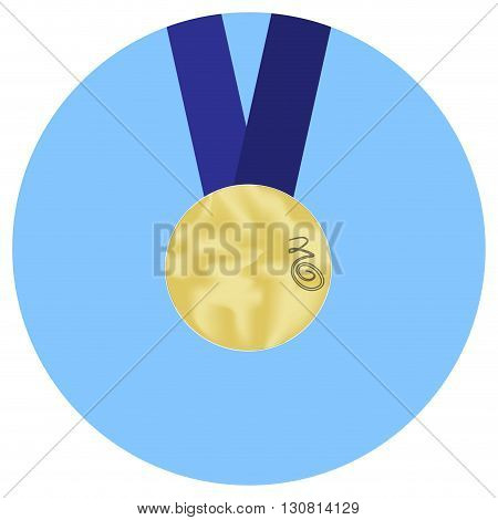 Gold medal icon. Medal symbol winner success and badge achievement of sport. Vector flat design illustration