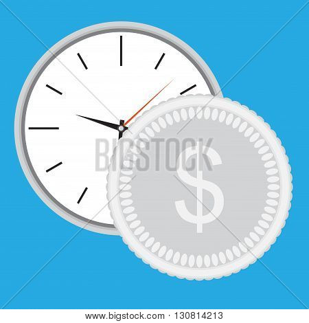 Time is money clock with silver coin. Dollar money silver and business and earning. Vector flat design illustration
