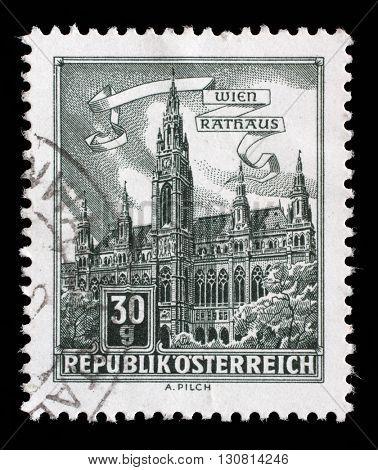 ZAGREB, CROATIA - SEPTEMBER 13: A stamp printed in Austria shows City Hall, Vienna, series, circa 1962, on September 13, 2014, Zagreb, Croatia