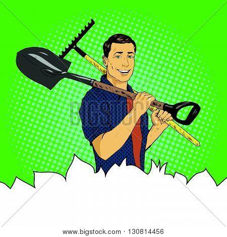 Man with garden tools. Vector illustration in retro comic pop art style.