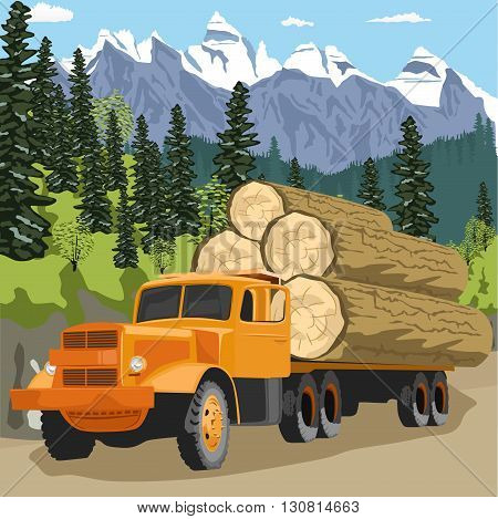 heavy loaded logging truck in forest in the mountains