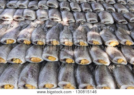 Snakeskin gourami dried salted ready for frying.