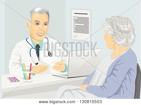 Senior female patient having consultation with mature doctor in the office
