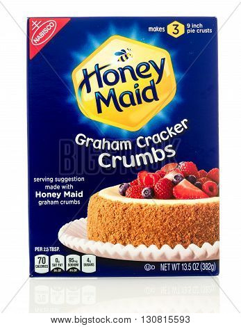 Winneconne WI - 19 May 2016: Package of Honey maid graham cracker crumbs on an isolated background