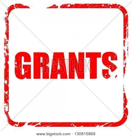 grants, red rubber stamp with grunge edges