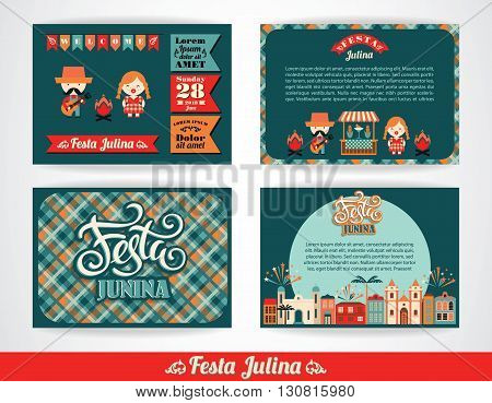 Latin American holiday the June party of Brazil. Set of vector templates with symbolism of the holiday.