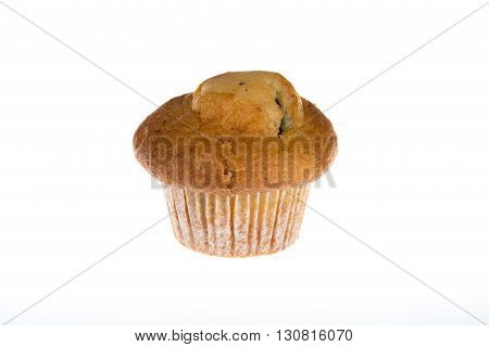 Single Light Chocolate Chip Muffin In Wax Liner On White.