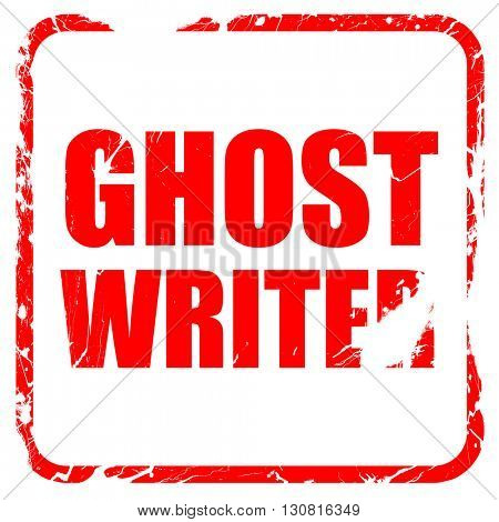 ghost writer, red rubber stamp with grunge edges