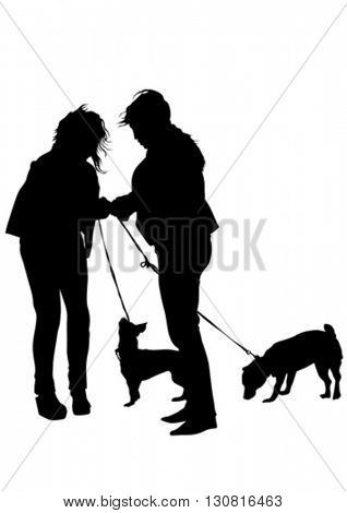 Young woman with a small dog on a white background