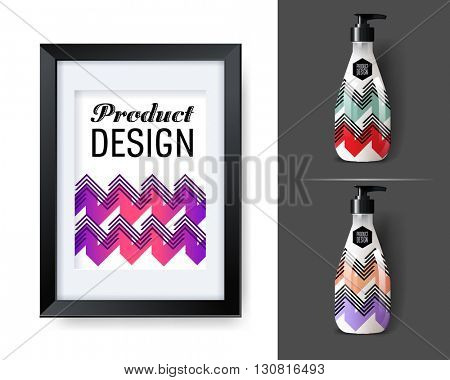 Mockup template for branding and product designs. Isolated realistic bottles with poster and unique sample design. Easy to use for advertising branding and marketing.