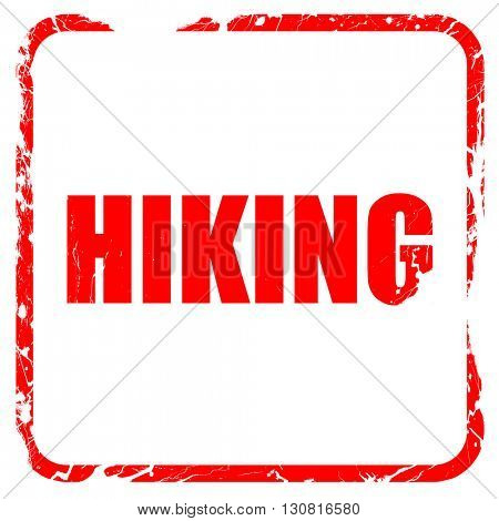 hiking, red rubber stamp with grunge edges