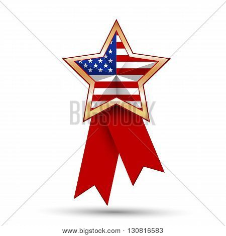 American flag as star shaped symbol. Vector illustration.