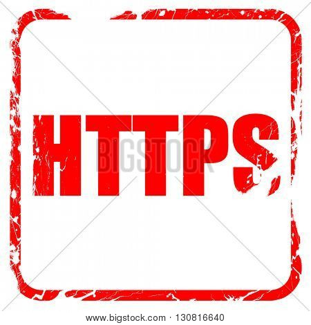 https, red rubber stamp with grunge edges