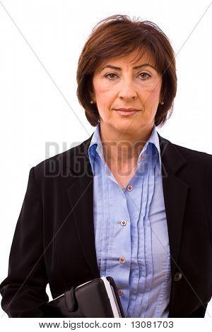 Portrait of senior businesswoman isolated on white background.