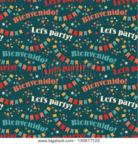 Latin American holiday the June party of Brazil. Flat seamless pattern with symbolism of the holiday