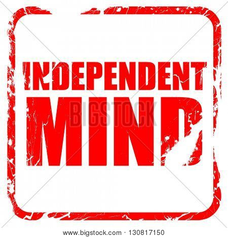 independent mind, red rubber stamp with grunge edges