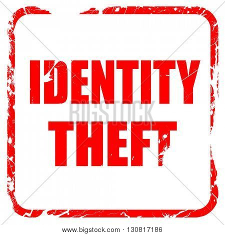 Identity theft fraud background, red rubber stamp with grunge ed