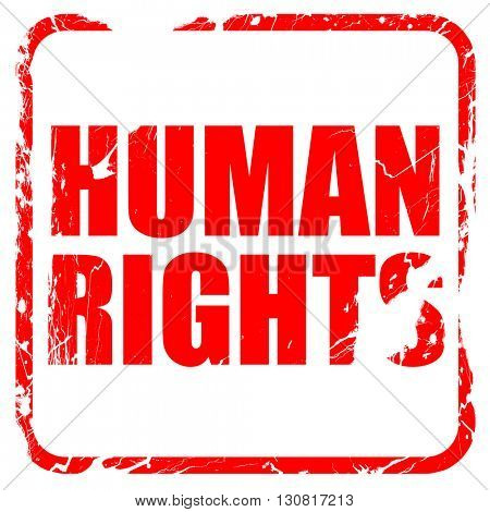 human rights, red rubber stamp with grunge edges