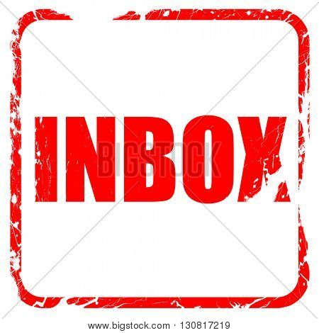 inbox, red rubber stamp with grunge edges