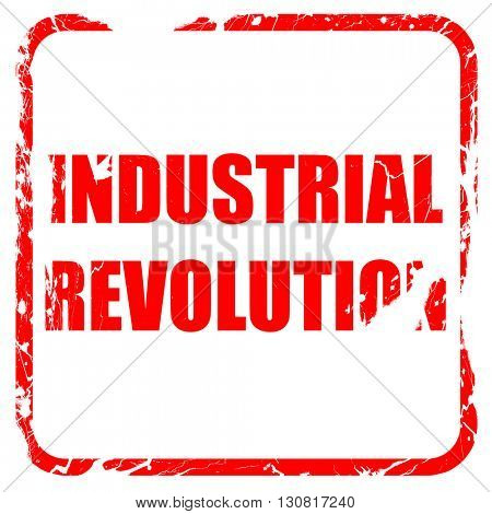 Industrial revolution background, red rubber stamp with grunge e