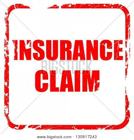 insurance claim, red rubber stamp with grunge edges