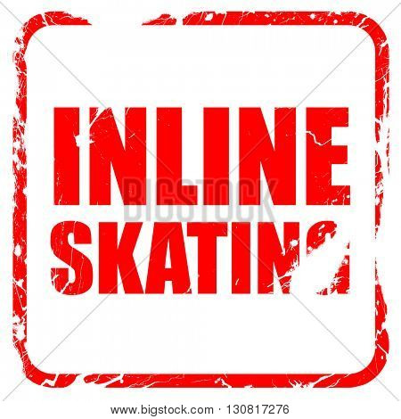 inline skating, red rubber stamp with grunge edges