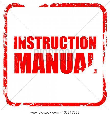 instruction manual, red rubber stamp with grunge edges